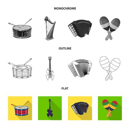 Vector design of music and tune sign. Collection of music and tool vector icon for stock. Illustration