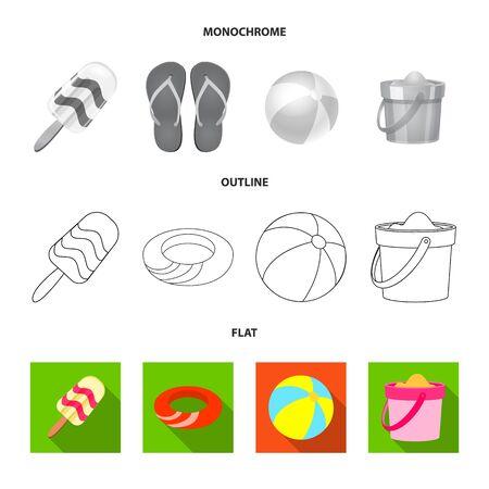 Vector design of equipment and swimming  . Collection of equipment and activity stock vector illustration. Stock Illustratie
