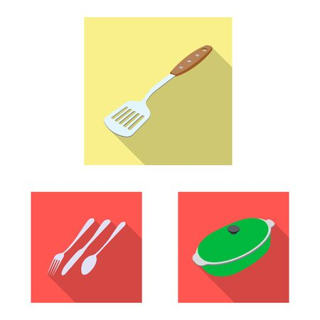 Vector illustration of kitchen and cook icon. Set of kitchen and appliance vector icon for stock.