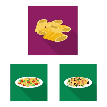 Vector design of pasta and carbohydrate symbol. Set of pasta and macaroni stock vector illustration.