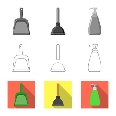 Vector design of cleaning and service icon. Collection of cleaning and household stock symbol for web. Çizim