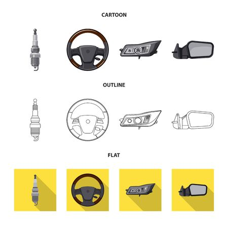 Vector illustration of auto and part. Set of auto and car stock vector illustration.