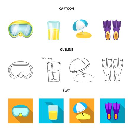 Isolated object of equipment and swimming. Set of equipment and activity vector icon for stock.