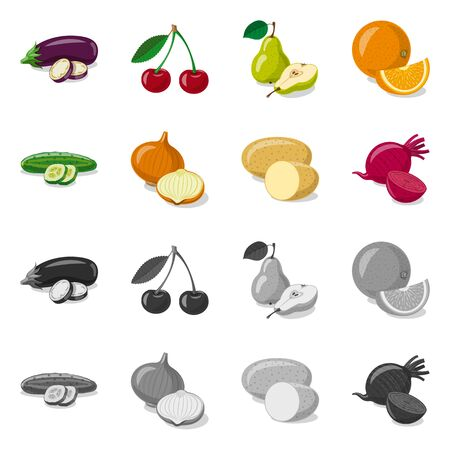 Vector design of vegetable and fruit symbol. Collection of vegetable and vegetarian stock vector illustration.
