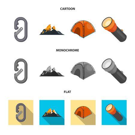Vector illustration of mountaineering and peak symbol. Set of mountaineering and camp stock vector illustration.