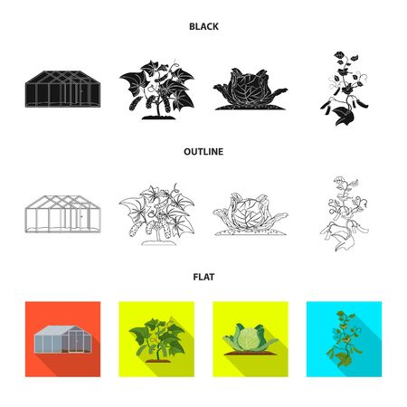 Isolated object of greenhouse and plant. Collection of greenhouse and garden vector icon for stock.