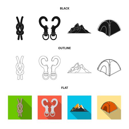 Vector illustration of mountaineering and peak. Collection of mountaineering and camp stock symbol for web.
