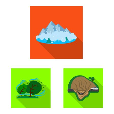 Vector design of natural and disaster sign. Collection of natural and risk stock symbol for web. Иллюстрация