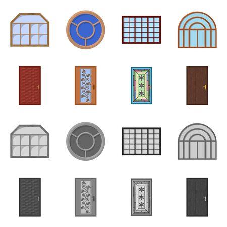 Vector design of door and front. Set of door and wooden stock symbol for web.