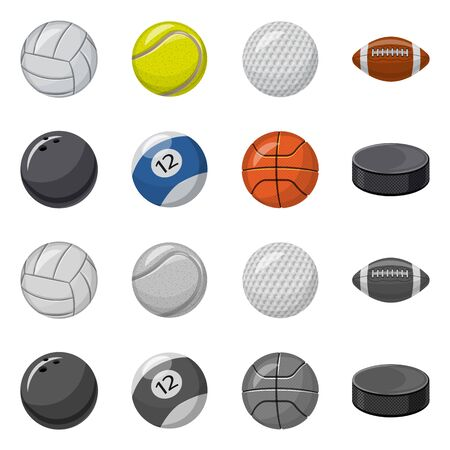 Vector illustration of sport and ball. Set of sport and athletic stock symbol for web.