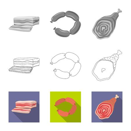 Vector illustration of meat and ham icon. Set of meat and cooking stock vector illustration. 일러스트