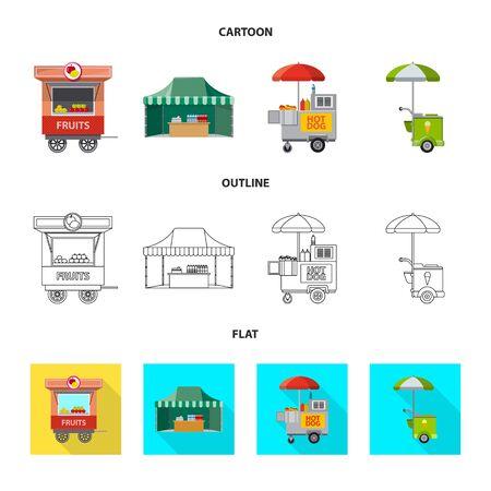 Vector design of market and exterior icon. Collection of market and food vector icon for stock. Foto de archivo - 129432663