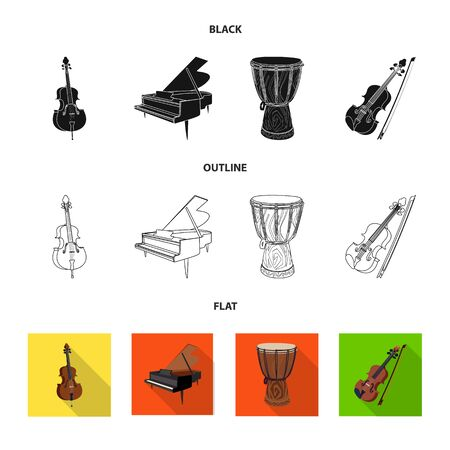 Isolated object of music and tune. Set of music and tool stock vector illustration. Illustration