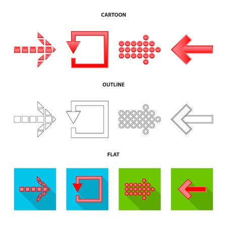 Isolated object of element and arrow sign. Collection of element and direction vector icon for stock.