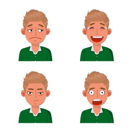 Vector illustration of face and boy icon. Collection of face and young vector icon for stock.