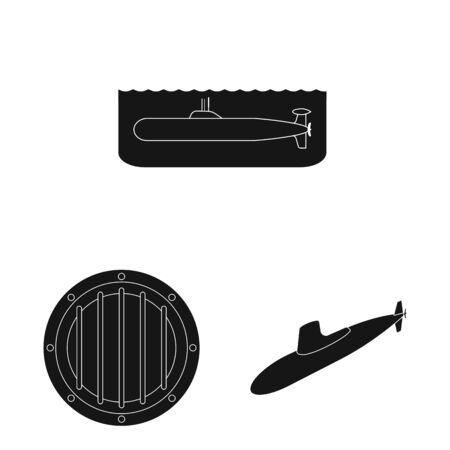 Vector illustration of technology and fleet icon. Collection of technology and navy stock vector illustration.