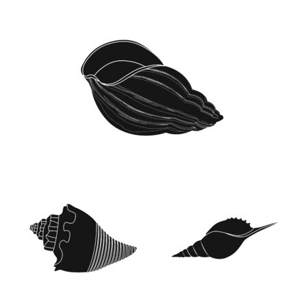 Vector design of nature and ocean sign. Collection of nature and mollusk stock symbol for web. Ilustração