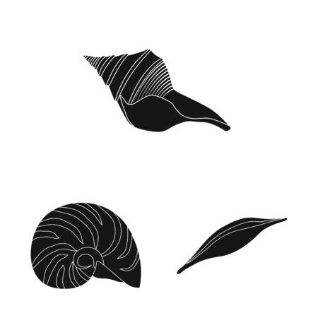 Vector design of nature and ocean symbol. Set of nature and mollusk stock symbol for web. Ilustração