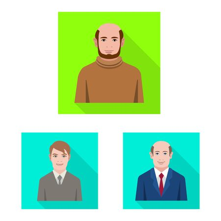 Vector illustration of profile and portrait sign. Set of profile and profession vector icon for stock.
