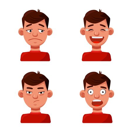Vector illustration of face and boy symbol. Set of face and young vector icon for stock. Illusztráció