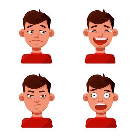 Vector illustration of face and boy symbol. Set of face and young vector icon for stock. Stock Illustratie