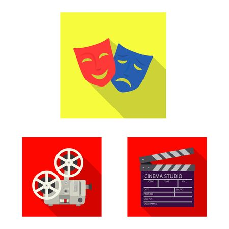 Vector design of television and filming logo. Collection of television and viewing stock vector illustration.