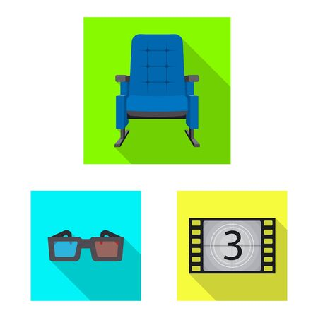 Vector design of television and filming symbol. Set of television and viewing stock symbol for web. Çizim