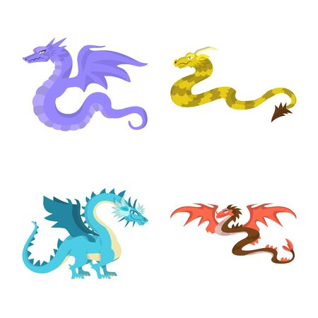 Isolated object of creature and animal. Collection of creature and medieval vector icon for stock. Stockfoto - 129872050