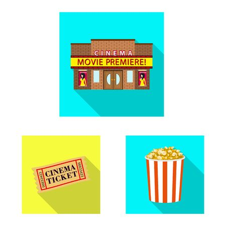 Vector design of television and filming. Collection of television and viewing stock symbol for web. Çizim