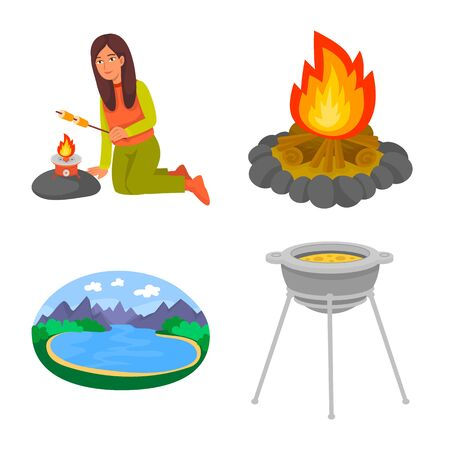 Vector design of picnic and nature symbol. Set of picnic and travel stock vector illustration.