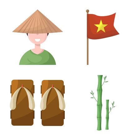 Vector design of vietnam and traditional symbol. Set of vietnam and asia vector icon for stock.