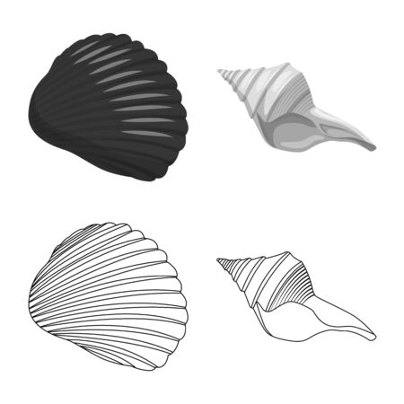 Vector design of animal and decoration symbol. Collection of animal and ocean vector icon for stock. Banco de Imagens - 129539450