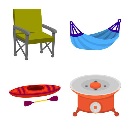 Isolated object of picnic and nature. Collection of picnic and travel vector icon for stock.