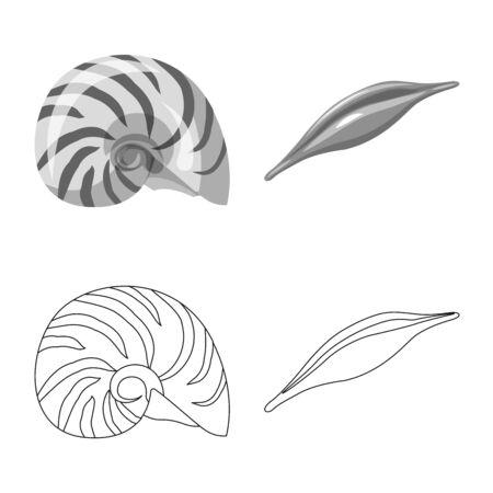 Vector illustration of animal and decoration symbol. Set of animal and ocean vector icon for stock.