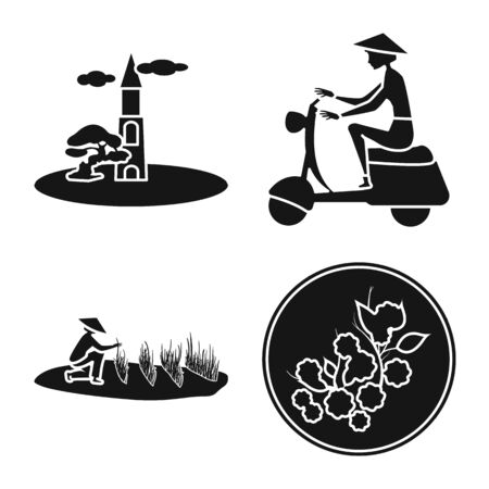 Vector design of vietnam and traditional sign. Set of vietnam and exotic vector icon for stock.