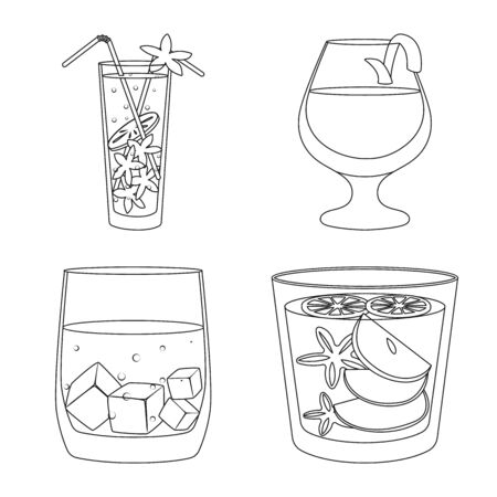 Isolated object of beverage and ice symbol. Collection of beverage and shaker stock symbol for web.