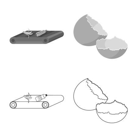 Vector design of refuse and junk symbol. Collection of refuse and waste stock symbol for web. Banco de Imagens - 129388236