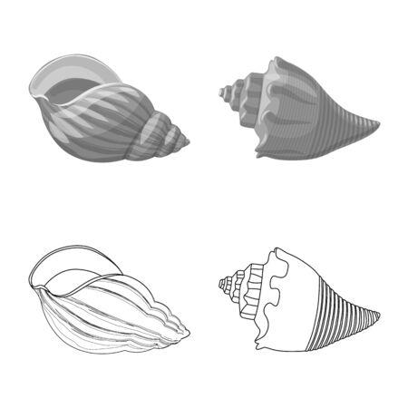 Vector illustration of animal and decoration icon. Set of animal and ocean vector icon for stock. Banco de Imagens - 129388246
