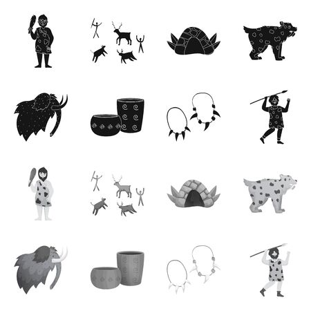 Isolated object of evolution and neolithic. Collection of evolution and primeval stock vector illustration. Illustration