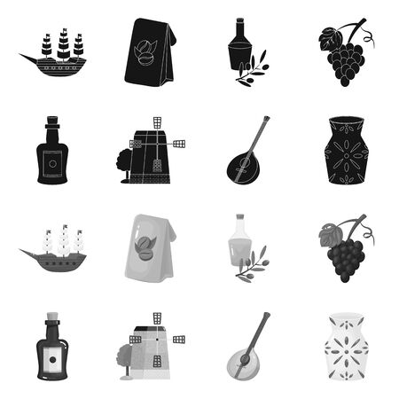 Isolated object of and historic symbol. Collection of and country stock symbol for web. Illustration