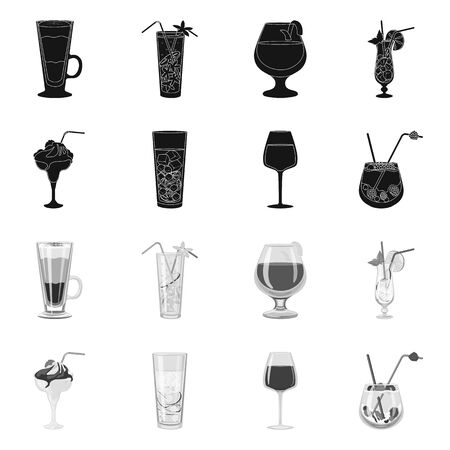 Illustrazione vettoriale di segno di liquore e ristorante. Insieme dell'icona di vettore di liquore e ingrediente per stock.