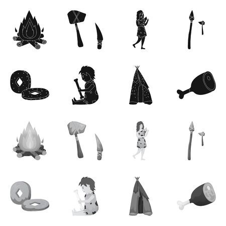 Vector design of evolution and neolithic. Set of evolution and primeval vector icon for stock. Illustration