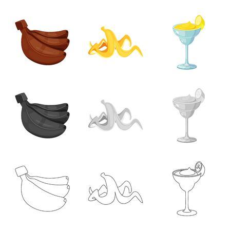 Vector design of natural and vegetarian symbol. Set of natural and eating stock symbol for web.