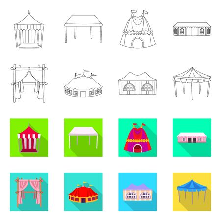 Vector illustration of roof and folding  . Collection of roof and architecture vector icon for stock.