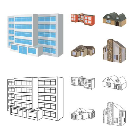 Vector design of facade and housing symbol. Set of facade and infrastructure stock symbol for web. Banque d'images - 129592451