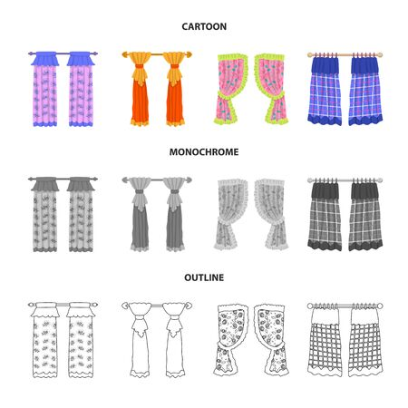 Vector illustration of curtains and drapes icon. Set of curtains and blinds stock symbol for web.  イラスト・ベクター素材