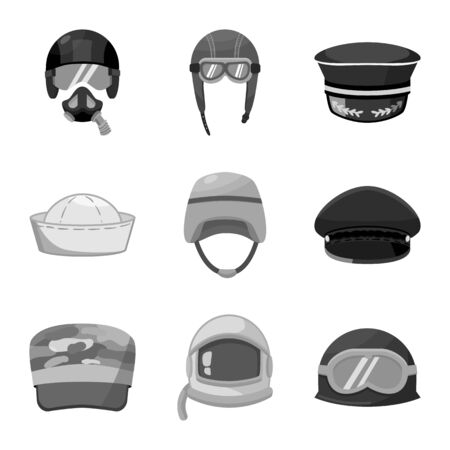 Vector design of headgear and modern  . Set of headgear and clothing vector icon for stock.