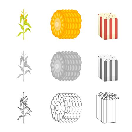 Vector design of cornfield and vegetable symbol. Collection of cornfield and vegetarian stock vector illustration. Banque d'images - 129876069