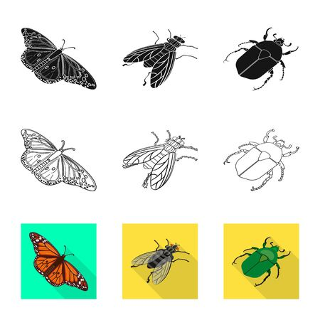 Vector design of nature and wildlife symbol. Set of nature and wing vector icon for stock. Ilustração