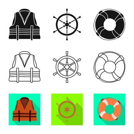 Isolated object of journey and seafaring symbol. Collection of journey and vintage stock vector illustration.